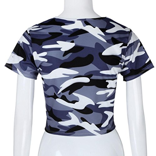 Rawdah Camouflage Crew Court Court Manches Courtes Top Femmes Mode Camouflage Bare Midriff T-Shirt