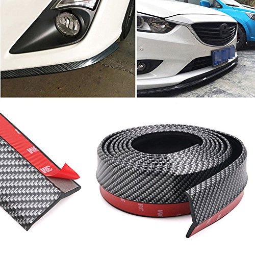 CUagain Universal Front Bumper Spoiler, 8.2Ft/250Cm Universal Carbon Fiber Bump Clips Body Trim Splitter Spoiler Side Skirt for Car Truck
