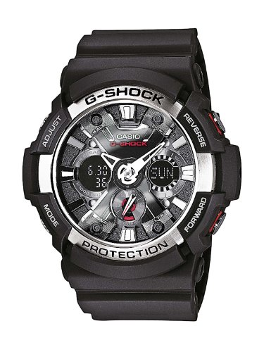 Casio Ga-200-1Aer Mens G-Shock Alarm Chronograph Black Silver Watch, Watch Central