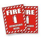 Pair - Fire Extinguisher Inside Vinyl Decals   Stickers   Labels 2x