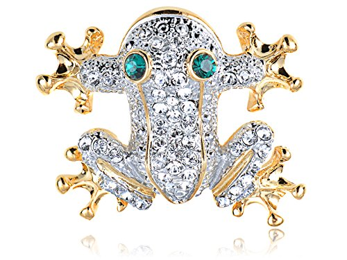 [Alilang Swarovski Crystal Elements Cute Happy Frog Prince Synthetic Emerald Eye Fashion Pin Brooch] (Prince Frog Costumes)