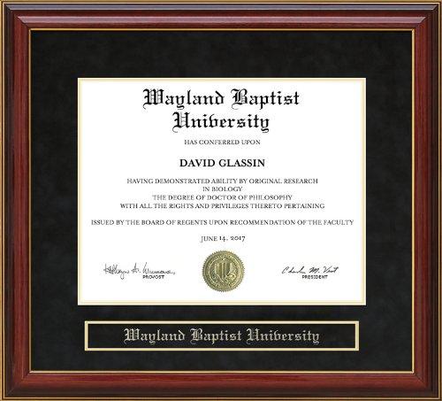 Wordyisms Wayland Baptist University (WBU) Mahogany Diploma Frame