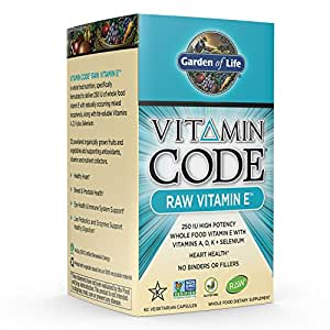 Garden of Life Vegetarian Vitamin E - Vitamin Code Raw E Vitamin 250 IU Whole Food Supplement with A, D, K and Selenium, 60 Capsules