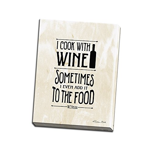 I Cook with Wine Printed on 18x24 Canvas Wall Art by Pennylane