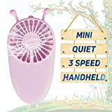 YAKOO Personal Handheld Fan, 3 Speed Electric Portable Pocket Fan USB Rechargeable Battery Cooling Fan Mini Size for Kids Girls Woman Room Outdoor Office Household Traveling- Little Bee Design