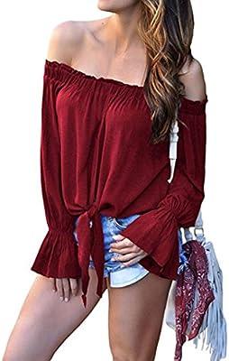 Longra Elegante Personalizada a Rayas de Las Mujeres Camisa de Manga de Campana de Hombro Tie Nudo Casual Blusas Tops Camisetas para Mujer
