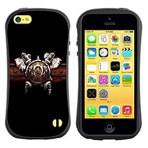 Fuerte Suave TPU GEL Caso Carcasa de Protección Funda para Apple Iphone 5C / Business Style Warrior Shield & Ace