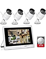 "YESKAMO Wireless CCTV Home Security Camera Systems with 12"" IPS HD Monitor 4pcs 1080P Wifi IP Cameras 2.0 Megapixel Outdoor Video Monitoring Surveillance Kits Pre-installed 2TB HDD for Recording"