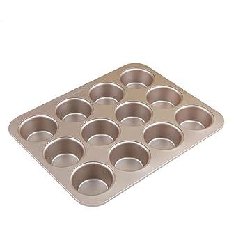 KAOP Molde de Torta de Metal Inicio Pan Redondo Molde de Hamburguesa Antiadherente Pan para Hornear - 12 Tazas: Amazon.es: Hogar