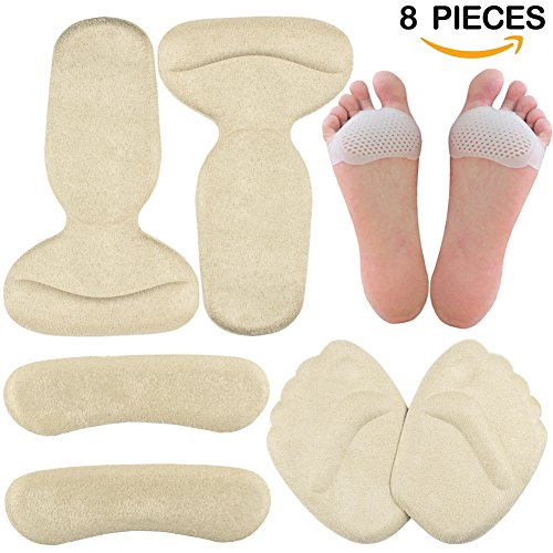 Shoe Inserts Heels (High Heel Pads - Gel Metatarsal Pads, Ball of Foot Insoles, Back Heel Shoe Cushion Inserts, Heel Snugs, Forefoot Pain Relief Pad for Women)