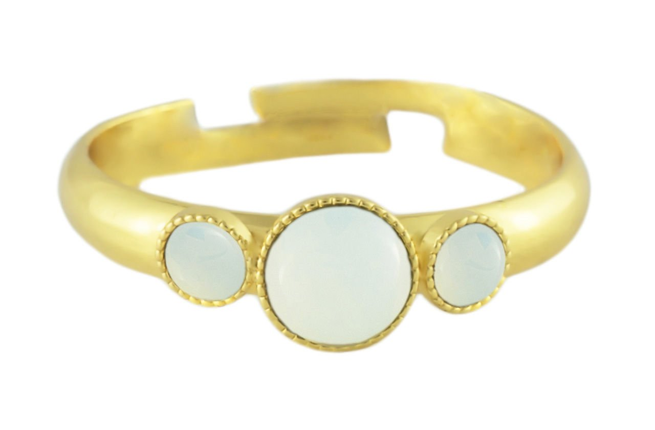 24K Gold Plated Minimalist Ring Adjustable Universal Size Round Trio oOo White Opal Moonstone Czech Glass Stone Handmade BohemStyle