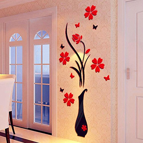 Sinohomie Best Sale DIY Vase Flower Tree Crystal Arcylic 3D Wall Stickers Wall Decals Home Decor 8040cm