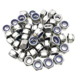 ZXHAO M8X1.25mm Stainless Steel Metal Nut Plated Self-Locking Nylon Anti-pine Nuts 50 Pcs