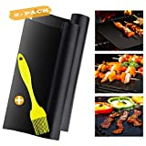 AIDOUT Grill Mat - Non Stick BBQ & Grilling Reusable Heavy Duty Heat Resistant Grill & Baking Pads for Gas, Charcoal, Electric Grill with Grill Brush(Set of 2)