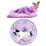 YiCTe Cat Bed Cute Dog Bed Washable Pet Bed Cushion Donut Dog Bed Extra Soft Comfortable and Suitable for Cats and Small Medium Large Dogs (60 cm/24 inch Diameter),Gradient Purple