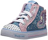 Skechers Kids Girls' Shuffles-Fooling Flutters Sneaker, Light Blue/Pink, 7 M US Toddler