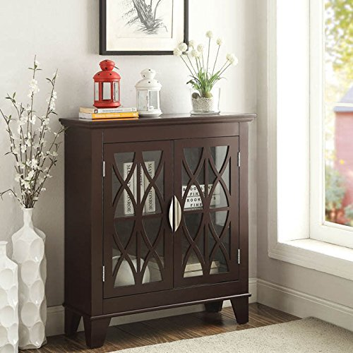 Transitional Wooden Cabinet Lattice Overlay