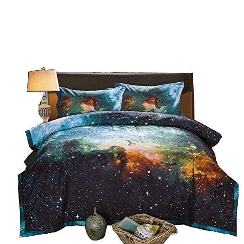 A Nice Night Black and Blue Galaxy Bedding Sets 3D Printed Cloud Quilt Comforter Sets together with 2 Bedroom Pillow Covers