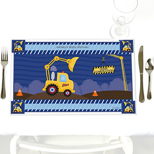 Under Construction Placemat - Custom Construction Truck - Party Table Decorations - Personalized Baby Shower or Birthday Party Placemats - Set of 12