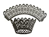 24 Black Filigree Laser Cut Lace Cupcake Wrappers Liners Muffin Cases Christening Baby Shower Wedding Party Cake Decoartion