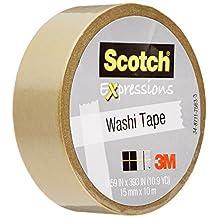 Scotch Expressions Washi Tape, 0.59 x 393 Inches, Gold (MMMC314GLD)