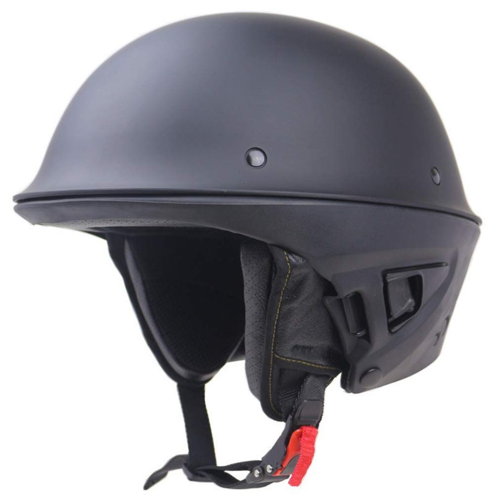 Autotipps DOT Rogue Half Helm Motorrad Retro Locomotive Abnehmbare Maske Mattschwarz Motorrad Motorradhelm