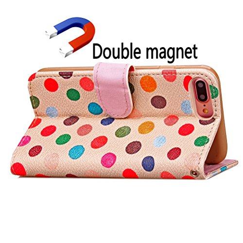 Funda Libro para iPhone 8 Plus,Manyip Suave PU Leather Cuero Con Flip Cover, Cierre Magnético, Función de Soporte,Billetera Case con Tapa para Tarjetas, Funda iPhone 8 Plus D