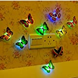 Teely Firefly Romantic Magic Change Colorful Butterfly Wall Xmas Decorative Light Sucker LED Night Light 10 pack