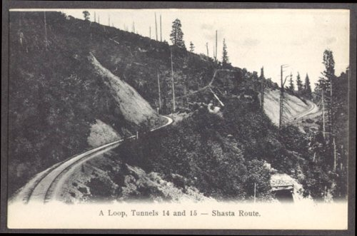 The Loop Tunnels 14 & 15 Shasta Route SPRR CA undivided back postcard 1900s ()