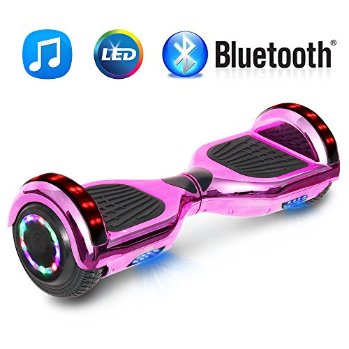 NHT 6.5″ Chrome Hoverboard Electric Smart Self Balancing Scooter with Bluetooth Speaker & Sidelights – UL2272 Certified Chrome Pink