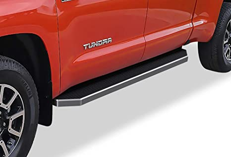 Black Powder Coated 4 inches Running Boards Nerf Bars Side Steps Step Rails Compatible with 2007-2020 Toyota Tundra Double Cab Pickup 4-Door APS iBoard