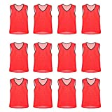 Nylon Mesh Scrimmage Team Practice Vests Pinnies Jerseys Bibs for Children Youth Sports Basketball, Soccer, Football, Volleyball (Red, Adult)