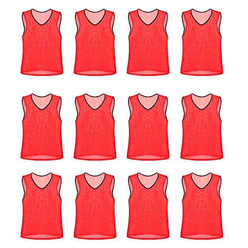 Nylon Mesh Scrimmage Team Practice Vests Pinnies Jerseys Bibs for Children Youth Sports Basketball, Soccer, Football, Volleyball (Red, Adult) (Mesh Adult Pinnie Nylon)