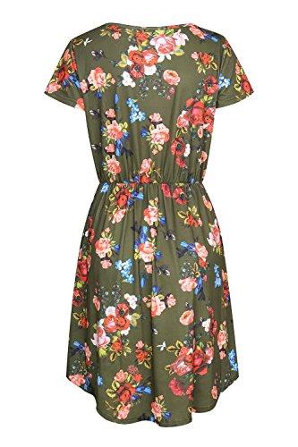 Olyr Manches Longues Femmes Floral Poche Robe Tunique Swing Imprimé Robe T-shirt Loose Un Court Vert