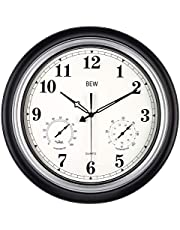 Large Outdoor Clock, 18 Inch Waterproof Silent Wall Clock with Thermometer and Hygrometer Combo, Decorative Wall Clock for Garden/Patio/Pool/Lanai/Fence (Metal, Black-Silver)