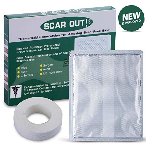 ScarOut! Silicone Scar Sheet for Scar Removal (3-6 Month Supply) - C Section Recovery Scar Treatment, Keloid Scar Removal and more! - Large 6x5 inch Silicone Sheet