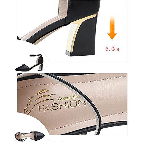 Size Outdoor Summer Walking EU39 CN39 Chunky shoes Buckle Heel 2 for HAIZHEN Women's Women 36 Slippers Women PU Sandals Apricot Color Comfort 6cm UK6 Comfort Black In 0Bqx8gn