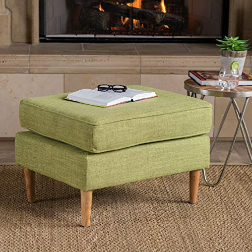 Christopher Knight Home 302601 Samuel Mid Century Modern Muted Green Fabric Ottoman,