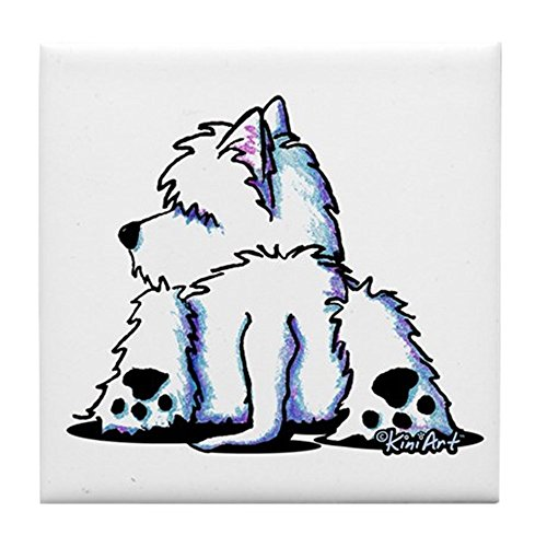 (CafePress Cool Belly Westie Tile Coaster, Drink Coaster, Small Trivet)