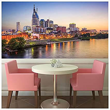 Azutura Nashville Sunset Wall Mural City Skyline Photo Wallpaper Bedroom Office Decor Available In 8 Sizes Small Digital