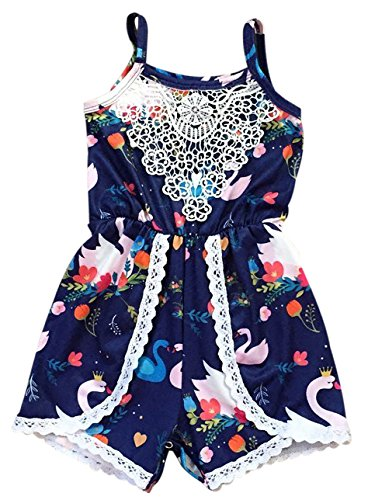 Dreamer P Little Girls' Sleeveless Swan Lace Floral Summer Romper Outfit Navy 4 M (P501617P) by Dreamer P (Image #2)