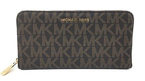 Michael Kors Jet Set Travel Zip Around Travel Wallet (Brown / Acorn) by Michael Kors