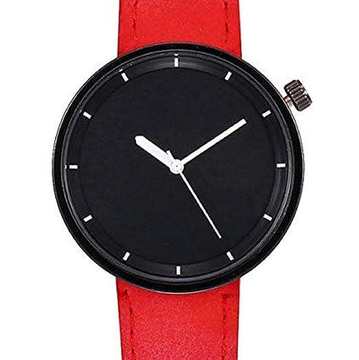 Scpink Relojes de Cuarzo para Mujer Liquidación Relojes de Pulsera para Mujer Relojes analógicos Relojes de Cuero para Mujeres (Rojo): Amazon.es: Relojes