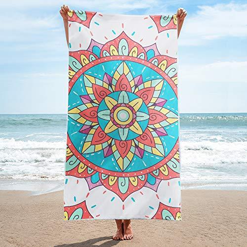 (YIMEIS Microfiber Oversized Beach Towel - Quick Dry Towel for Swimmers, Sand Free Towel, Beach Towels for Kids & Adults, Bohemian Mandala Beach Towel, 40''x75'')