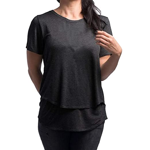 1e71e4266d676 Amazon.com: SUNyongsh 2019 Women's Maternity T Shirt Nursing T Shirt Wrap  Double T Shirt Layer Short Sleeve Blouse T Shirt V-Neck Tops: Clothing