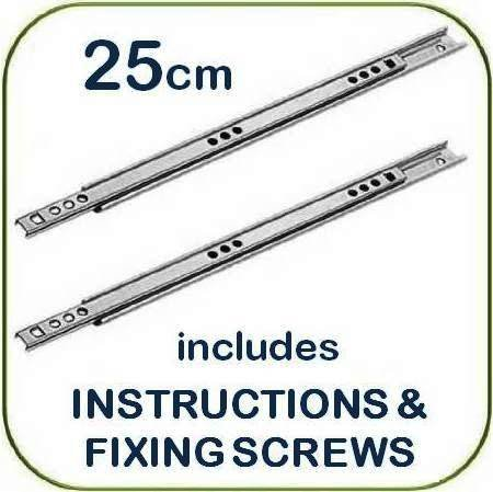 Metal drawer runners - 25cm x 1 7cm wide - (per pair) - includes  instructions and screws - Replaces most MFI, Ikea Argos etc
