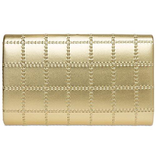 Sac Or pour femme avec stylé Clutch main longue enveloppe TA388 chaînette à CASPAR métallisé OZqw500f