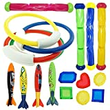 PeeNoke Underwater Swimming/Diving Pool Toy Rings (4) Sticks (4) Toypedo Bandits(4 Pcs) with Under Water Treasures Gift Set Bundle