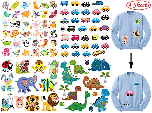 Iron on Patches for Kids,Assorted Dinosaur Animal Car Iron on Transfer Stickers,DIY Iron Applique Patches for Clothes Backpacks Clothing T-Shirt Jacket (4 Pcs)