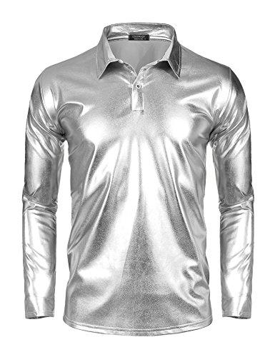 COOFANDY Men's Disco Shirt Long Sleeve Shiny Metallic Gold Silver Nightclub Style Costume Party Polo Shirt -
